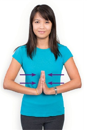 Push your fingers together and hold for 10 seconds. Repeat up to 10 times, multiple times a day.