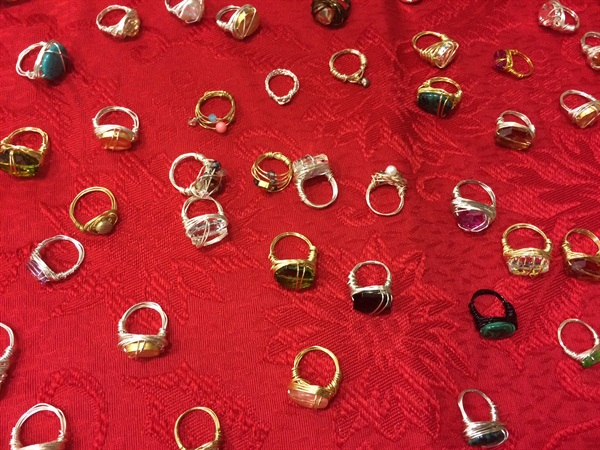 <p>Rings were for sale from a local jewelry artist. I thought it was smart to retail a jewelry item that could complement a fresh manicure.</p>