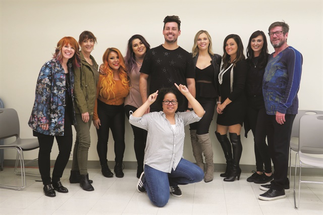 <p>Nails front and center: Joanne Sorbello takes center stage at fall Artist Session. Back row left to right: Nanci Lee Randolph, Gay Dering, Amy Ramos, Kayla Stewart, Phil Ring, Sydney Scherr, Jennifer Horter, Fran Peterson, and Rusty Phillips.</p>