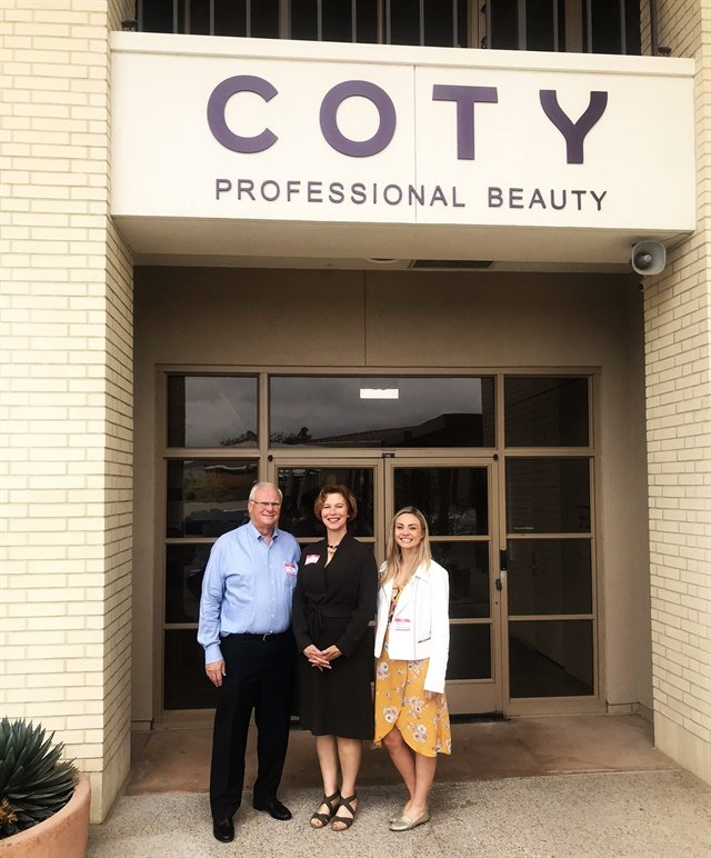 <p>Gregg McConnell, Anne Moratto, and I outside of the Coty office before our tour</p>