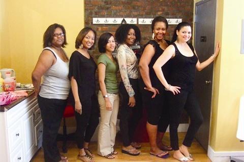 "<p>Posh staff members from left to right are Jacyna Murray, Nikkeya Spence, Tiffany George, Kenyatta ""Joi"" Offutt, Debra Pakeman (manager), and Terri Streat (owner).</p>"