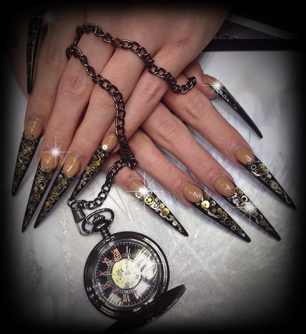 Day 104: Steampunk Stiletto Nail Art - - NAILS Magazine