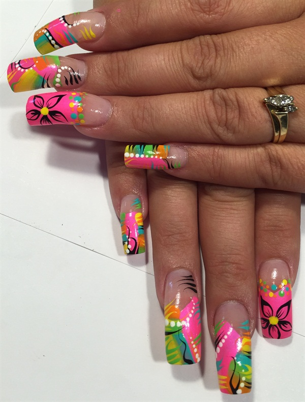 - Day 170: Abstract Neon Nail Art - - NAILS Magazine