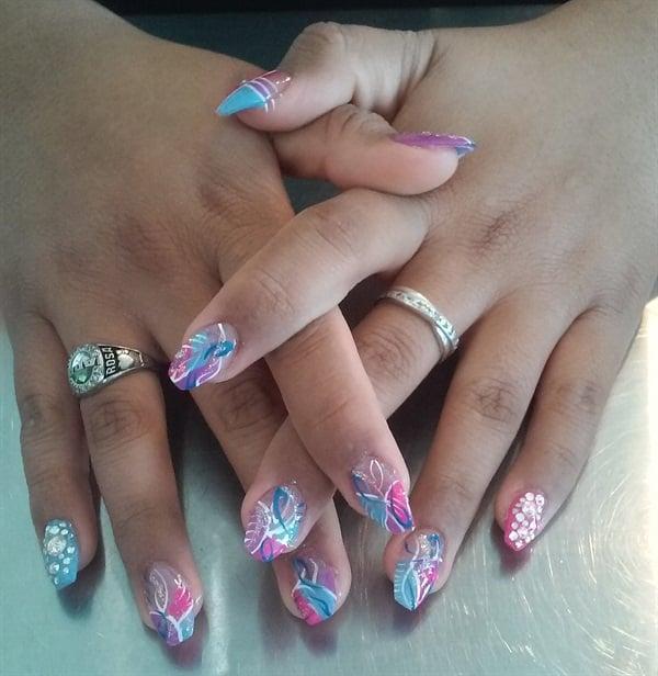Day 177: Pink & Blue Abstract Nail Art - - NAILS Magazine