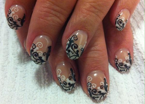 Day 195 Black And White Gel Swirls Nail Art Nails Magazine