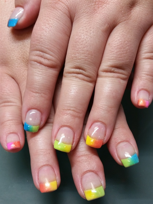 Day 220: Rainbow Tip Nail Art - - NAILS Magazine