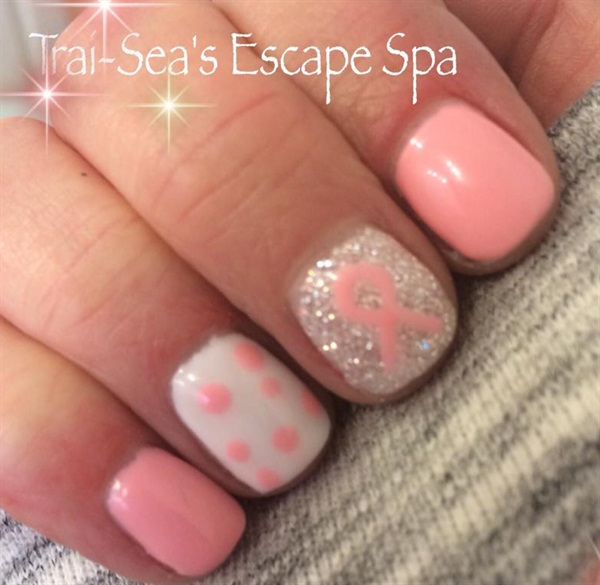 Day 282: Gel With Hand Painted Ribbon Nail Art - - NAILS Magazine