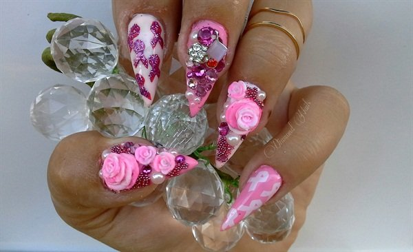 Day 285: Pink Diamond Nail Art - - NAILS Magazine