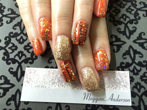 Day 295 orange black gold nail art nails magazine - Dreamz salon and spa ...