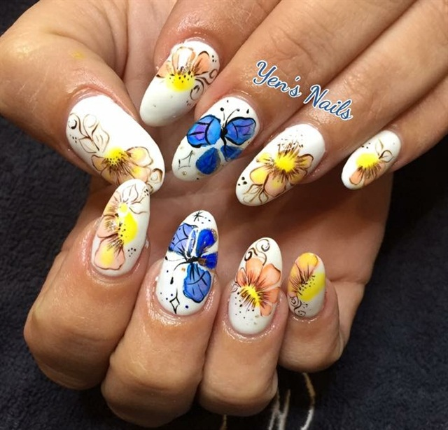 Day 329 Watercolor Flower Nail Art Nails Magazine