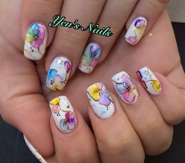 Yen Rayall, Yen's Nails in Perth, Perth, Australia - Day 329: Watercolor Flower Nail Art - - NAILS Magazine