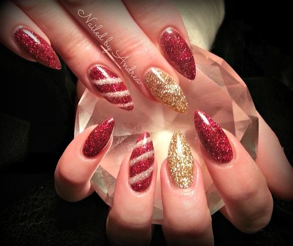 Christmas candy cane acrylic nails