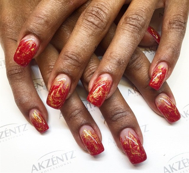 Day 350 Red Green Gold Nail Art Nails Magazine