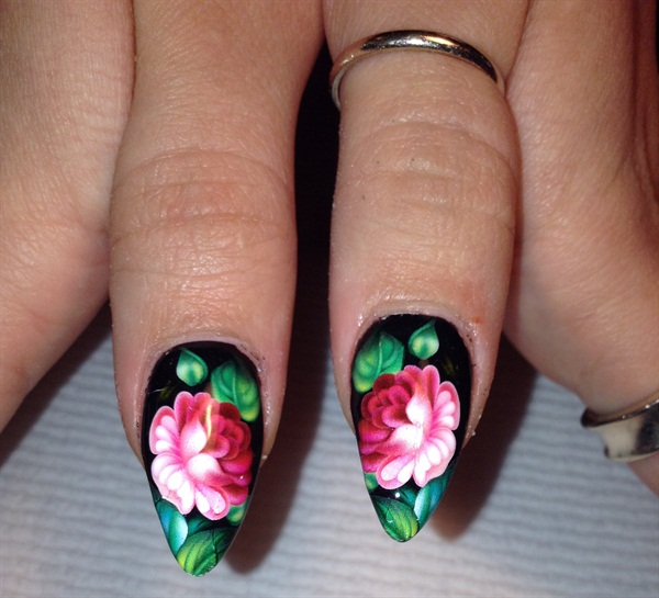 Day 4 flower tattoo nail art nails magazine alexandra barbosa alys nails belleville nj prinsesfo Image collections