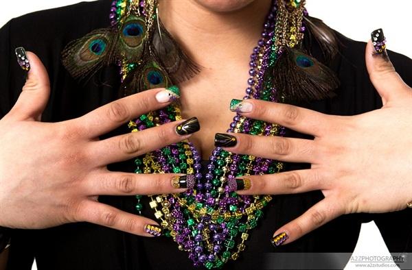 - Day 48: Mardi Gras Nail Art - - NAILS Magazine