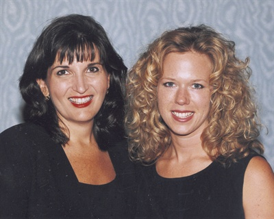 <p>Salon owners Theresa DeCort (left) and Michele Yaksich of Nail Galleria in the mid-1990s. The salon won NAILS Magazine's Salon of the Year award.</p>