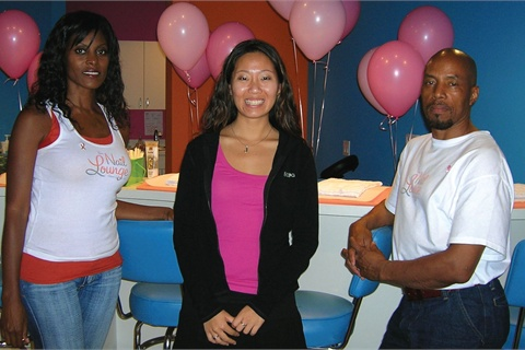<p>Rhonda Taylor (left) had worked as a celebrity nail tech before joining nine other techs at The Nail Lounge. She worked on executive editor Hannah Lee while Daniel Thompson (right) executed my first on the- job pedicure.</p>
