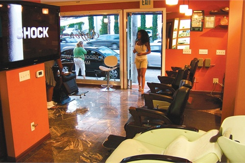 <p>Saffore's has four barber chairs, one pedicure throne, a hair washing station, and a massage room.</p>