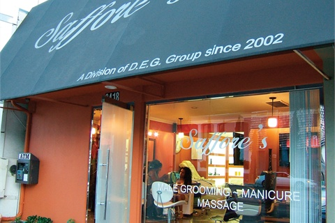 <p>The outside of Saffore's is modest and situated in the middle of bustling West Hollywood.</p>