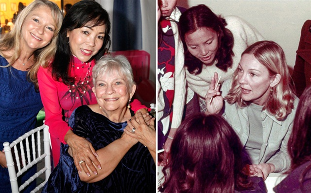 Thuan Le reunites with her first nail instructor, Dusty Coots Butera and her daughter Robin for the first time in 40 years at an OPI/Bellacures event honoring Tippi Hedren. Le is standing behind Butera in both photos.