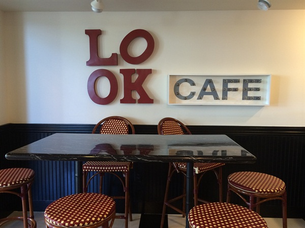 <p>Inside the LOOk cafe. Clients receive complimentary beverages.</p>