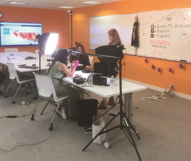 <p>Behind the scenes at a NAILS Facebook Live. Photography by Kimberly Pham</p>