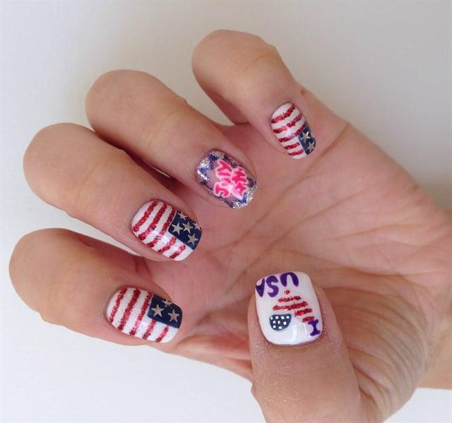I Love The USA Nail Art