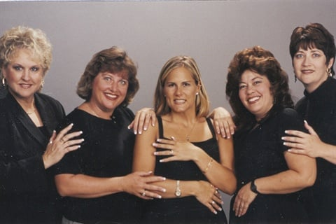 <p>The Fandango team in 1998. Left to right: Nanci Soltani, Karleen Best, Sandy Toeson, Terry Smith, Kathy Sanchez</p>