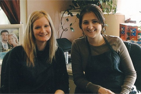<p>Christy Martin (left) sends employees like Abby Fox to get services at other salons regularly.</p>