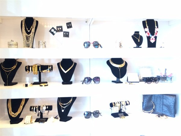 The retail wall at Glo features Tanya Kara jewelry.