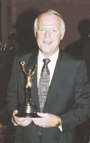 <p>Ardo Hazlet in 1990 with his NAILS Magazine Who's Who Award for Favorite Implement.</p>