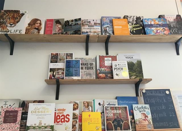 Books available for clients to read while getting a service