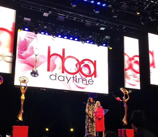 <p>Actress Meagan Tandy (left) and NAILS' Beth Livesay presenting the nail award.</p>