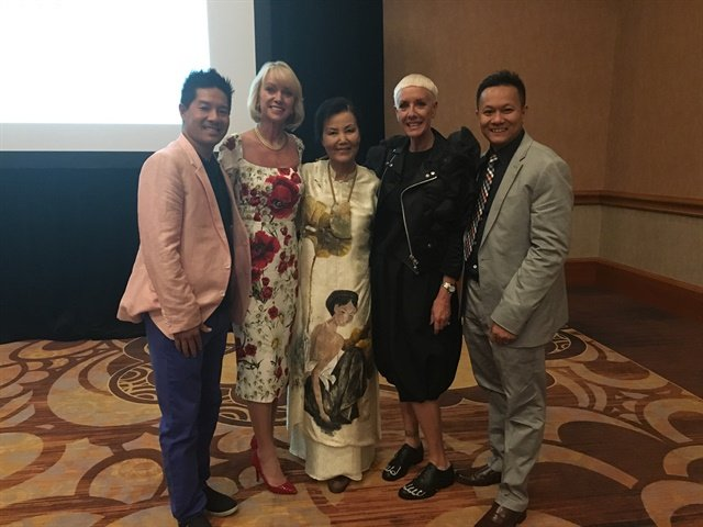 Advance Beauty College president Tam Nguyen, BCL president Lynelle Lynch, Kieu Chinh, CND's Jan Arnold, and Tan Nguyen attended the press conference