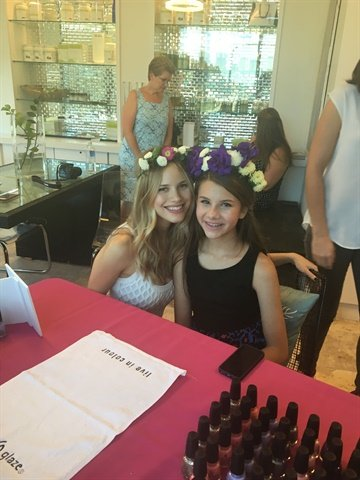 <p>Halston Sage, left, joins in on the manicure fun.</p>