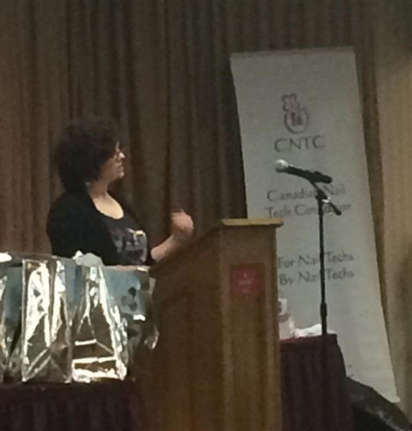 <p>Millie Haynam of Nail Talk Radio was one of the speakers.</p>
