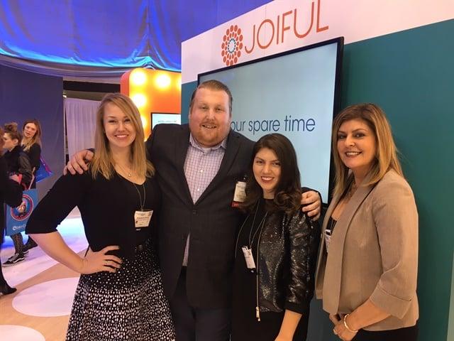 <p>NAILS sales rep. Shannon Rahn, Joiful's Chad Law, executive editor Beth Livesay, and managing editor Tracy Rubert at the booth.</p>