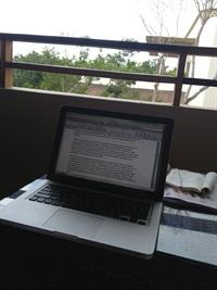 """<p>My """"desk"""" in Mexico.</p>"""