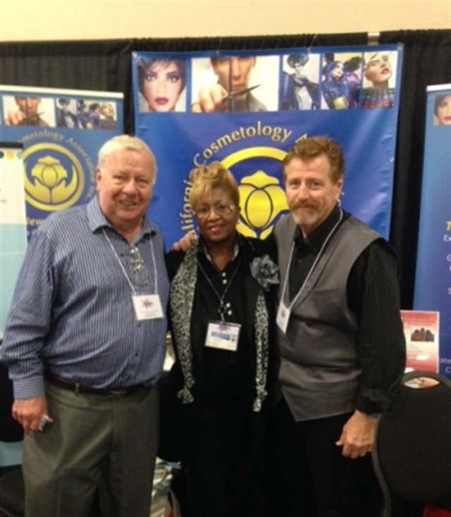 <p>Roger Fortier, Thelma Price, and Bob Plato of the Califormia Cosmetology Association</p>