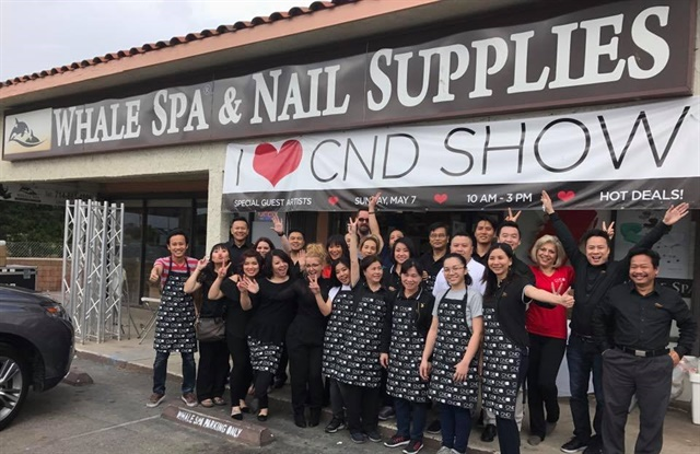 """<p>The CND and Whale Spa teams.Photo courtesy of <a href=""""https://www.facebook.com/whalespanailsupply/"""">Whale Spa</a>.</p>"""