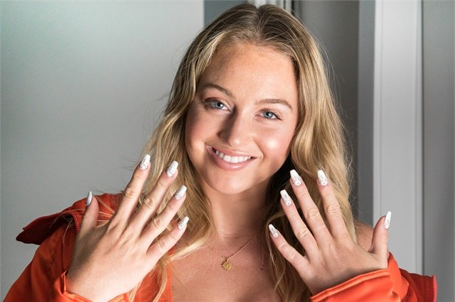 Iskra Lawrence with her Swarovski mani.