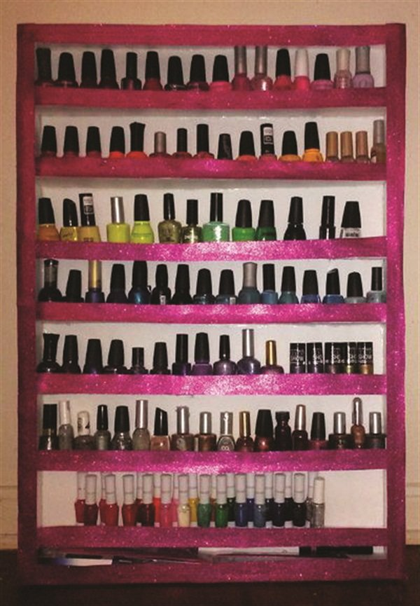 Steal these storage solutions style nails magazine this is a cute and convenient nail polish rack that i created myself using foam board hot glue and decorative glitter paper not only does my diy rack solutioingenieria Images