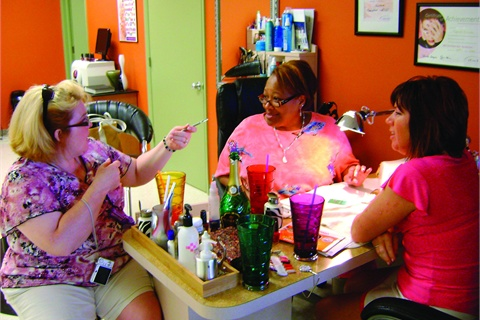 <p>The group gathers at Carol's Mishewaka salon to review Chelly's French technique.</p>