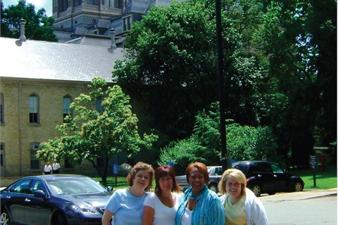 <p>The foursome do some sightseeing at Notre Dame while in Indiana.</p>