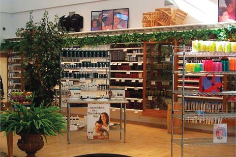 <p>The front area is used to teach students the importance of retailing products with clever, well-stocked displays.</p>