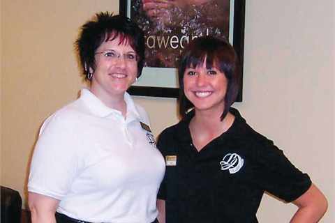 <p>Nail instructor Melissa Finch and student Kelsey Rose were happy to host me at La James.</p>