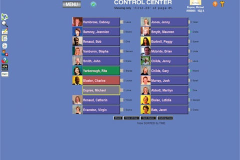 <p>Software Creations' Control Center interface displays every client who has an appointment that day. When checked out, the clients disappear from the screen. Anyone left at the end of the day either did not show or did not pay.</p>