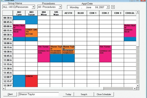 <p>ClienTrak! has a great appointment book interface that is simple and easy to use. It shows the schedules for each tech at the salon as well as the name of the client and service they are getting, and it is color coded so any employee can log on and clearly understand what is scheduled for the week.</p>