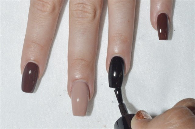 Perfect Match colors shown, from left to right: Risqué Business, B-52, and Black Onyx.