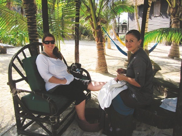 <p>Another outdoor pedicure in a beautiful location...this time at Maya Wellness Center in Tulum, Mexico.</p>